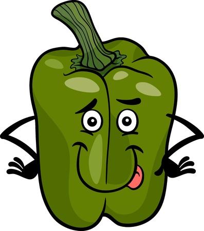 pimenton: Ilustración de dibujos animados de Funny Comic Green Pepper o pimentón vegetales Carácter Del Alimento Vectores
