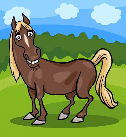 animal breeding: Cartoon Illustration of Funny Comic Horse Farm Animal Illustration