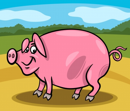 Cartoon Illustration of Funny Comic Pig Farm Animal Stock Vector - 19158086
