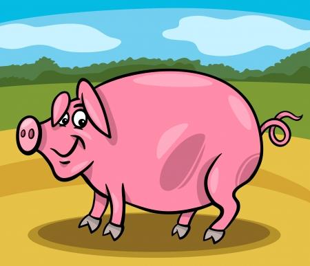 porker: Cartoon Illustration of Funny Comic Pig Farm Animal