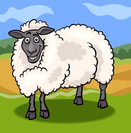 Cartoon Illustration of Funny Comic Sheep Farm Animal Stock Vector - 19158085