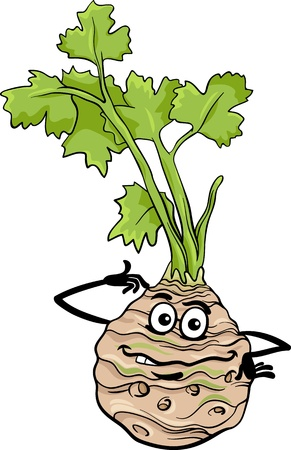 Cartoon Illustration of Funny Comic Celery Root Vegetable Food Character Vector