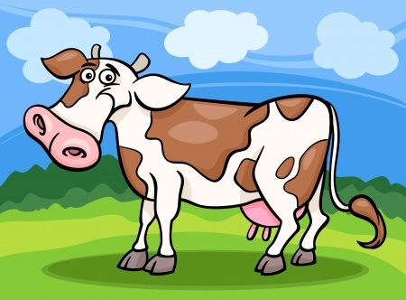 milker: Cartoon Illustration of Funny Comic Spotted Cow Farm Animal