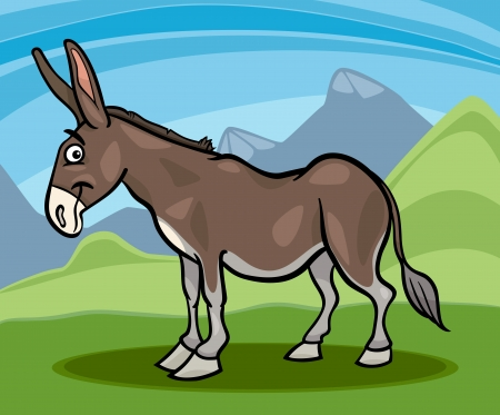 mule: Cartoon Illustration of Funny Comic Donkey Farm Animal