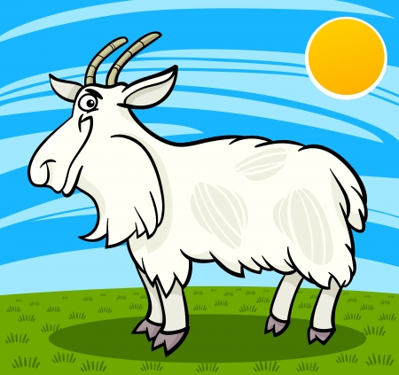 Cartoon Illustration of Funny Comic Hairy Goat Farm Animal Stock Vector - 19196289