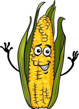 Cartoon Illustration of Funny Comic Corn on the Cob Food Character Vector