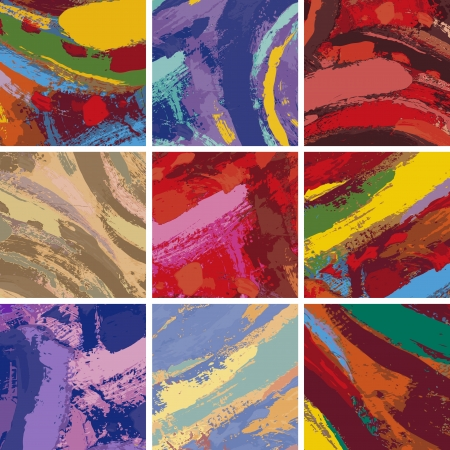 fine art painting: Vector Illustration Set of Abstract Painting Background Design