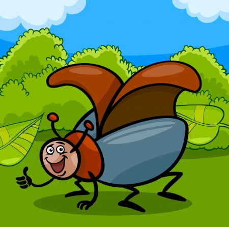 coleopter: Cartoon Illustration of Funny Beetle or Cockchafer Insect on the Meadow