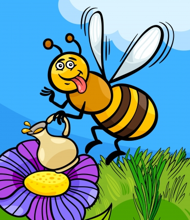 Cartoon Illustration of Funny Bee on the Meadow with Pot of Honey or Nectar Vector