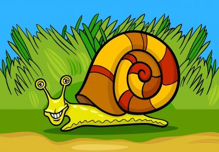 mollusk: Cartoon Illustration of Funny Snail Mollusk with Shell Illustration