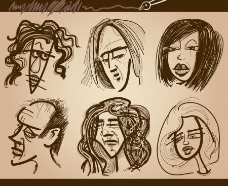 caricaturas de personas: Ilustraci�n de dibujos animados de la gente hace frente a la caricatura Dibujos Conjunto