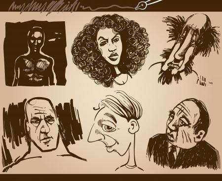 male face profile: Cartoon Illustration of People Faces Caricature Drawings Set Illustration
