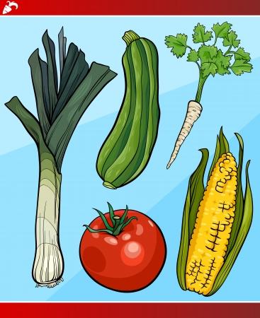 pepino caricatura: Ilustraci?n de dibujos animados de verduras vegetariana conjunto de objetos de Alimentos