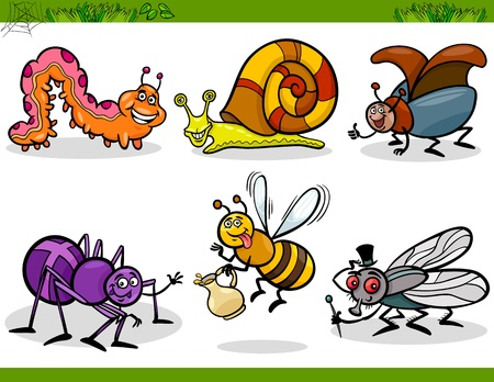 Cartoon Illustration of Happy Insects or Bugs Set like Bee, Beetle, Spider, Fly and Caterpillar Vector