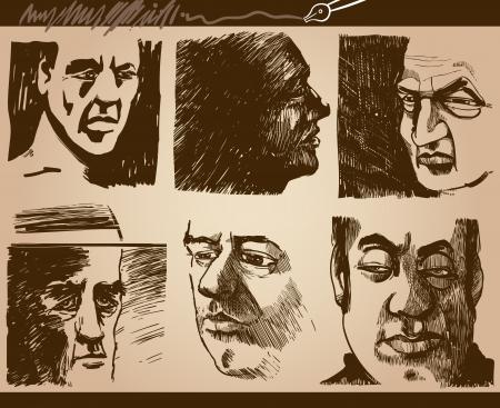 hombre caricatura: Ilustraci�n de dibujos animados de la gente hace frente a la caricatura Dibujos Conjunto