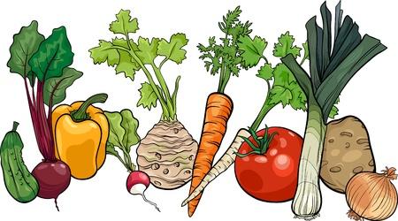 remolacha: Ilustraci�n de dibujos animados de verduras Alimentos Objeto de grupo grande