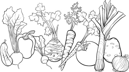 root vegetables beet root: Black and White Cartoon Illustration of Vegetables Food Object Big Group for Coloring Book