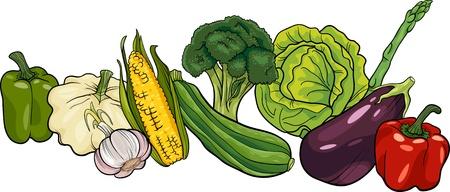 Cartoon Illustration of Vegetables Food Object Big Group