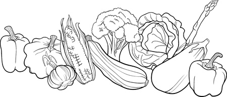 black pepper: Black and White Cartoon Illustration of Vegetables Food Object Big Group for Coloring Book
