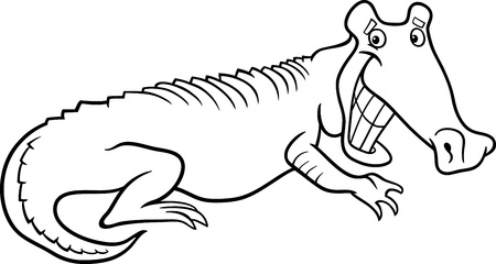 Black and White Cartoon Illustration of Funny Alligator Crocodile for Coloring Book Illustration