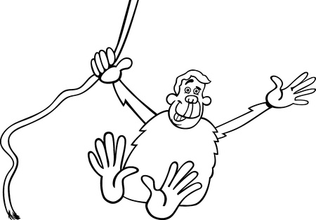 Black and White Cartoon Illustration of Funny Chimpanzee Ape in the Jungle for Coloring Book Vector