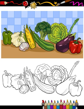cabbage: Coloring Book or Page Cartoon Illustration of Vegetables Food Object Group for Children Education
