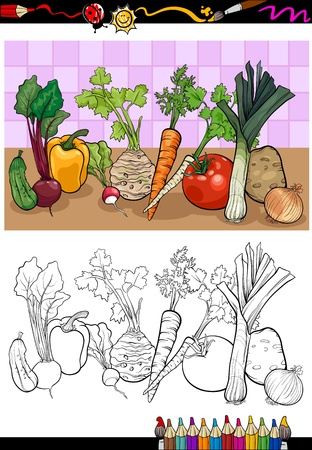 root vegetables: Coloring Book or Page Cartoon Illustration of Vegetables Food Object Group for Children Education