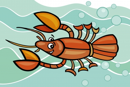 arthropods: Cartoon Illustration of Funny Crayfish in the Water Illustration