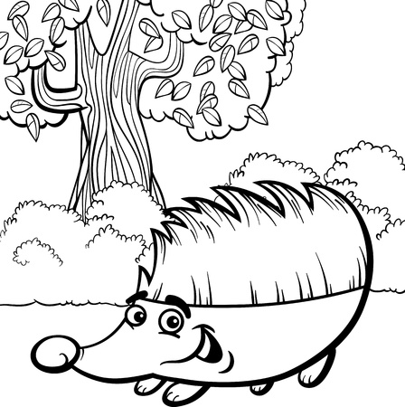 Black and White Cartoon Illustration of Cute Hedgehog Wild Animal for Coloring Book Vector