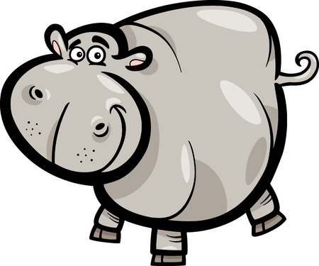 Cartoon Humorous Illustration of Happy Hippo or Hippopotamus Animal Character Vector