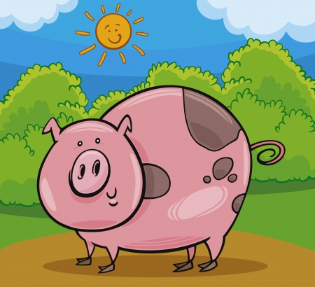 Cartoon Illustration of Happy Pig Farm Livestock Animal Vector