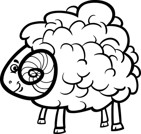 Black And White Cartoon Illustration Of Funny Ram Farm Animal