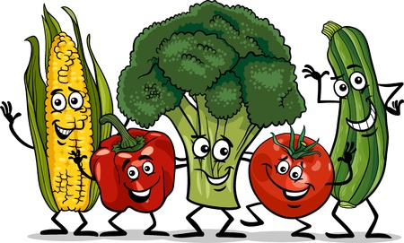 Cartoon Illustration of Happy Vegetables Food Characters Group Иллюстрация