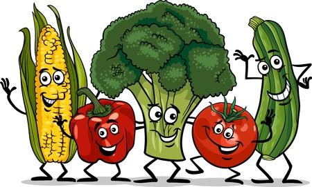 Illustratie cartoon van Happy Groente Voedsel Karakters Group