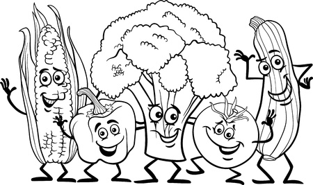 coloring book page: Black and White Cartoon Illustration of Happy Vegetables Food Characters Group for Coloring Book