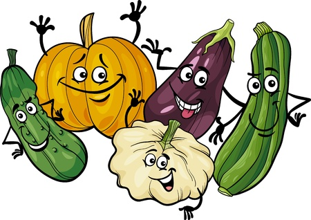 gourds: Cartoon Illustration of Funny Cucurbits Vegetables Food Characters Group Illustration