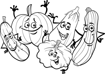 Black and White Cartoon Illustration of Funny Cucurbits Vegetables Food Characters Group for Coloring Book Vector