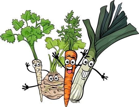 root vegetables: Cartoon Illustration of Happy Soup Vegetables Food Characters Group Illustration