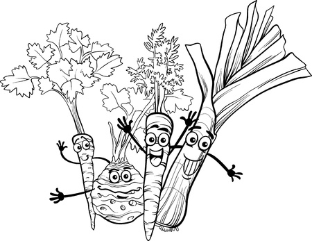 Black and White Cartoon Illustration of Happy Soup Vegetables Food Characters Group for Coloring Book Vector