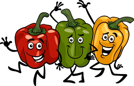 Cartoon Illustration of Three Funny Red, Green and Yellow Peppers Vegetables Food Characters Group Ilustracja