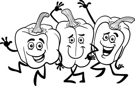 Black and White Cartoon Illustration of Three Funny Peppers Vegetables Food Characters Group for Coloring Book Vector