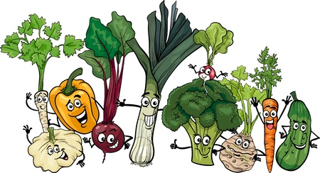 Cartoon Illustration of Funny Vegetables Food Characters Big Group Vector