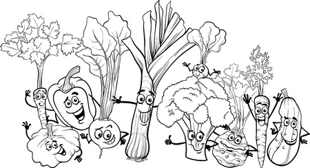 Black and White Cartoon Illustration of Funny Vegetables Food Characters Big Group for Coloring Book Vector