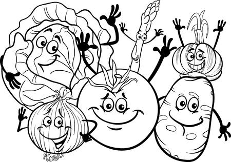 cabbage: Zwart-wit Cartoon Illustratie van Grappige Groenten Voedsel Karakters Group voor Coloring Book Stock Illustratie