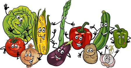 green and purple vegetables: Cartoon Illustration of Happy Vegetables Food Characters Big Group