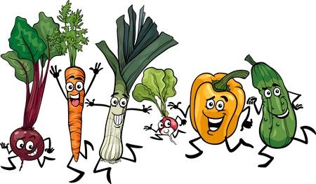 Ilustración de dibujos animados de feliz Running Vegetables Food Characters Grupo
