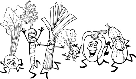 Black and White Cartoon Illustration of Happy Running Vegetables Food Characters Group for Coloring Book Vector