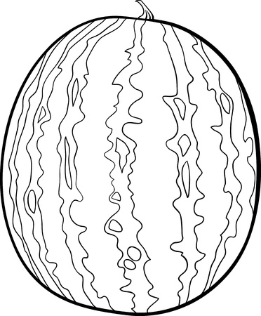 gourd: Black and White Cartoon Illustration of Watermelon Fruit Food Object for Coloring Book Illustration