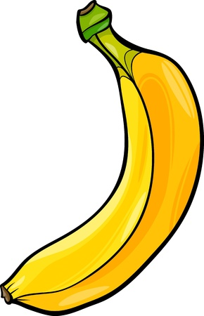 diet cartoon: Cartoon Illustration of Banana Fruit Food Object