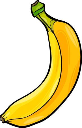 banana caricatura: Ilustraci�n de la historieta de la fruta del alimento del pl�tano Objeto Vectores